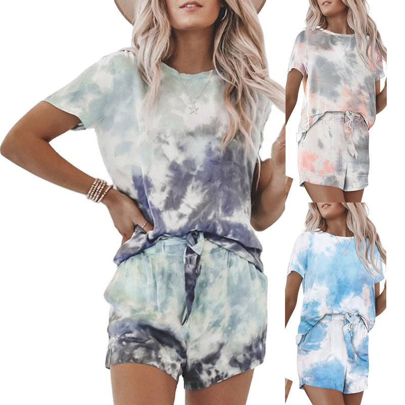 2020 New Style Summer Comfortable Tie Dye Tee And Shorts 2 Pieces Home Wear Womens Pajama Set