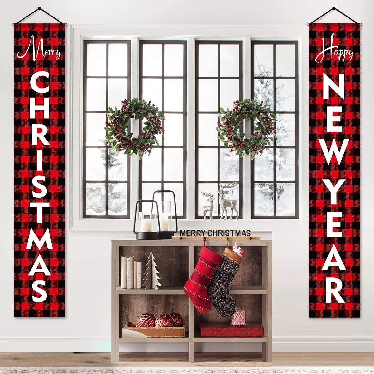 BUON NATALE FELICE ANNO NUOVO Rosso <span class=keywords><strong>Buffalo</strong></span> Controllare Plaid Portico Segni Moderna Agriturismo Decor