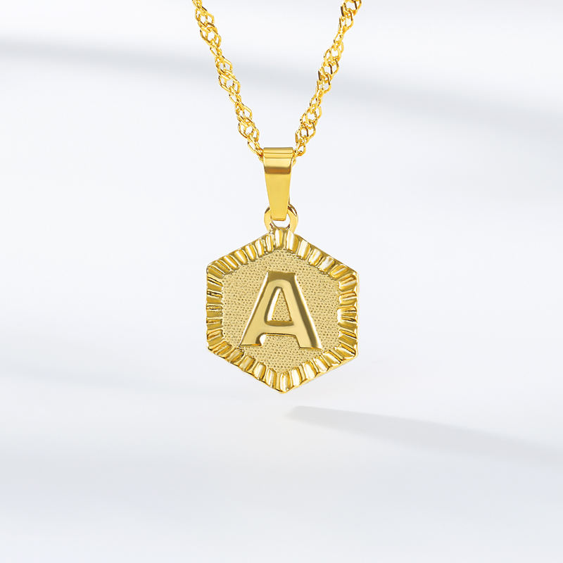 Personalized Customization Initial Pendant Charm A To Z Hexagon Disc Stainless Steel Necklace Jewelry For Men And Women