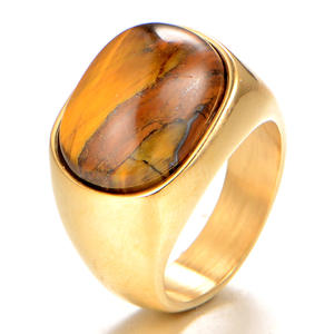 Wholesale Retro fashion gemstone custom men's jewelry stainless steel rings gemstone class oval tiger eye rings for men