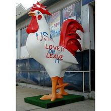 customized decor large fiberglass rooster sculpture