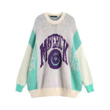 Colorful Girl's sweater cashmere/mohair loose pullover sweater