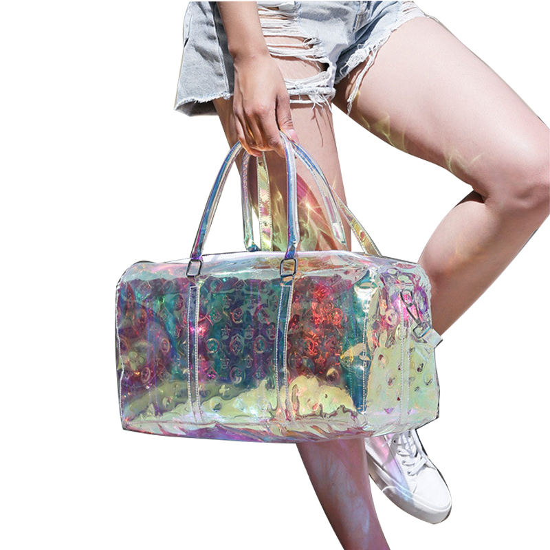 Congsi Laser Bag Transparent Large Capacity Fashion Holographic Overnight Bag Women Travel Clear Duffel Bags