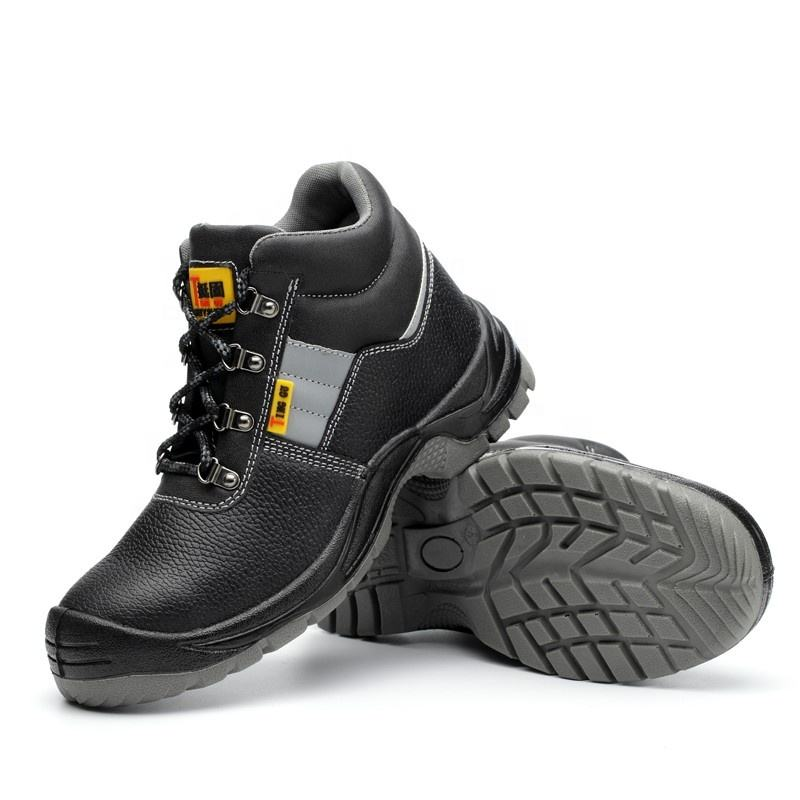 Genuine Leather Steel Toe Cap Labor Boots Mens Security Ankle Work Shoes