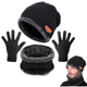 Unisex Knitted Warm Ski Winter Slouchy Outdoor Sports Acrylic Beanie Touch Screen Cap Scarf Hat Glove Sets