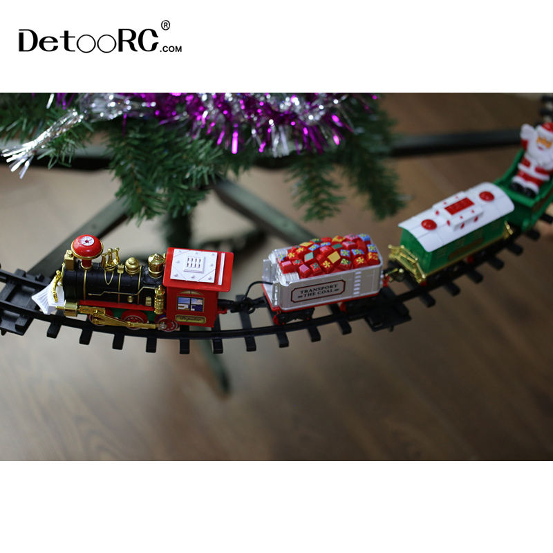 Detoo new product Suspendable train classic Christmas train set railway track sets battery operated locomotive train for kids