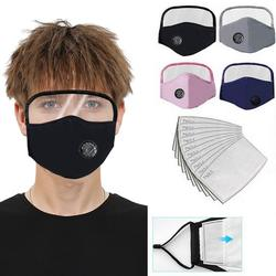 Face Shield with Eye Screen Fabric Reusable Sunscreen Face Masks with Breathing Valve