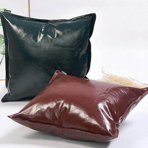 Modern Backrest Sofa Cushion Covers Room Soft Liner Oil PU Leather Solid Colors Square Decorative Customized Throw Pillow Cases