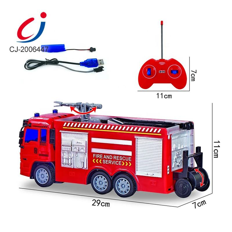 1:30 Scale Light Friction Remote Control Fire Truck Toy, Firefighter Plastic Fire Rc Truck Toys