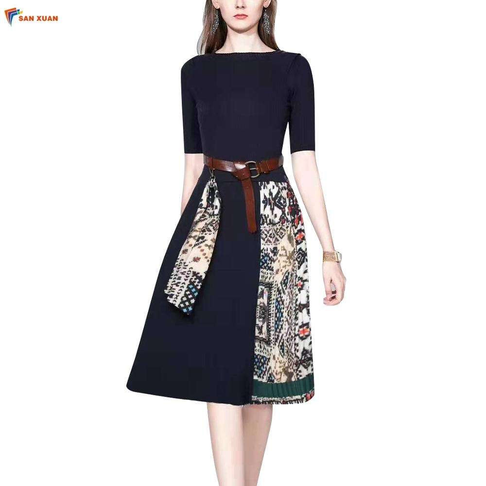 In-stock retro slim fashion lace-up high waist pleated half sleeve knee length midi formal knitted dresses casual for women