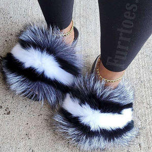 USA wholesale custom furry fluffy Really fox raccoon fur slides sandals for women and ladies kids toddler baby