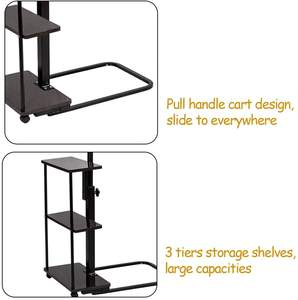 Mobile Side Table Adjustable Rolling Cart for Laptop Over Bed Sofa Couch Beside Computer Workstation Desk with Storage Tray