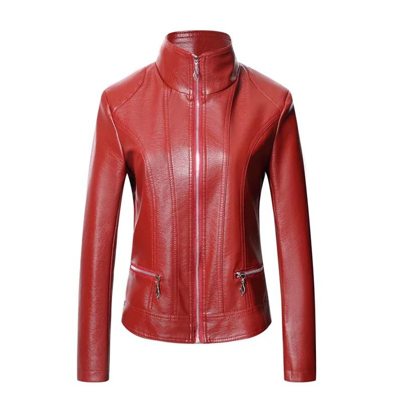 Hot sell spring autumn sexy leather jacket woman luxury women leather jacket