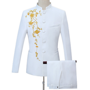 embroidered stand-up collar Chinese tunic suit