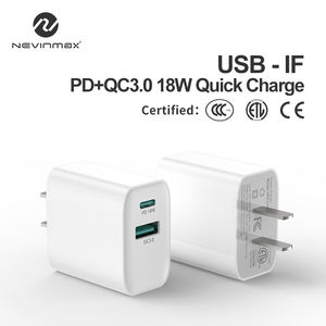 Uni Eropa US UK AU Plug 5V 3A 9V 2A 18W QC 3.0 PD Charger Dinding USB C power Adaptor Dual Port Telepon Pengisian