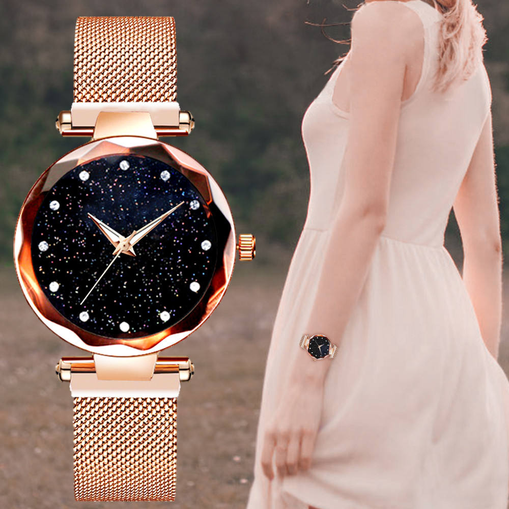 Luxury Brand Ladies Watch Star Sky Diamond Dial Women Bracelet Watches Magnetic Stainless Steel Mesh Customized Wristwatches