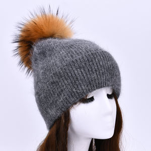 Soft Long Plush Cashmere Wool Knitted Genuine Big Fur Pom Hat Customize Women Winter wholesale_beanies