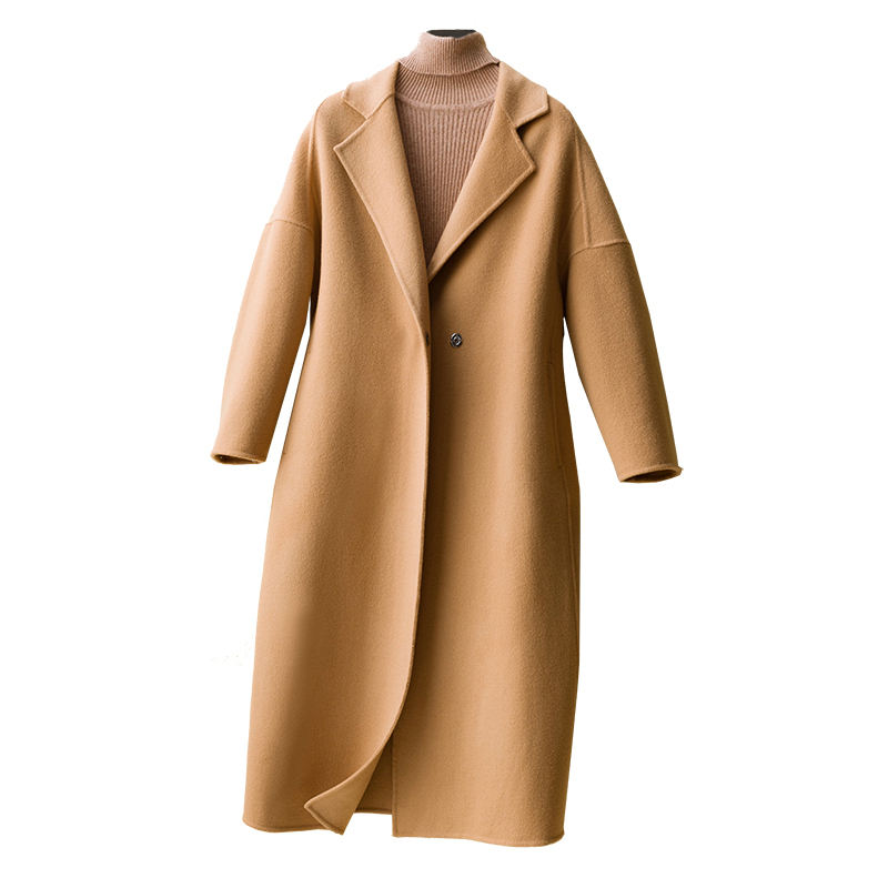 2020 Ladies Fashion Slim Fit Lapel Fall Winter Overcoat Trench 100% Sheep Long Wool Coat Women
