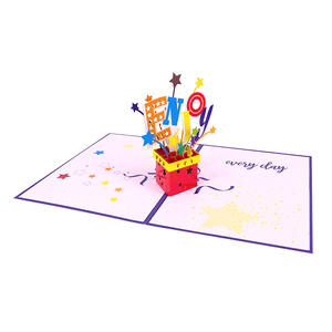 2020 Laser Cut Paper Craft Birthday Gift Box 3d Pop Up Card