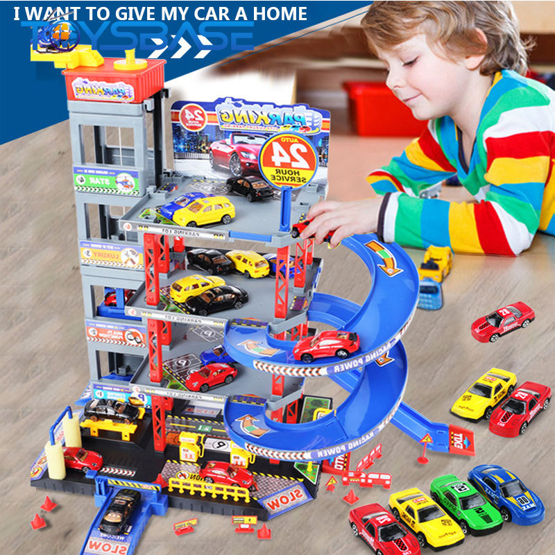 Hot Sale Plastic Toy Garage Multi Layer Kid Parking Set