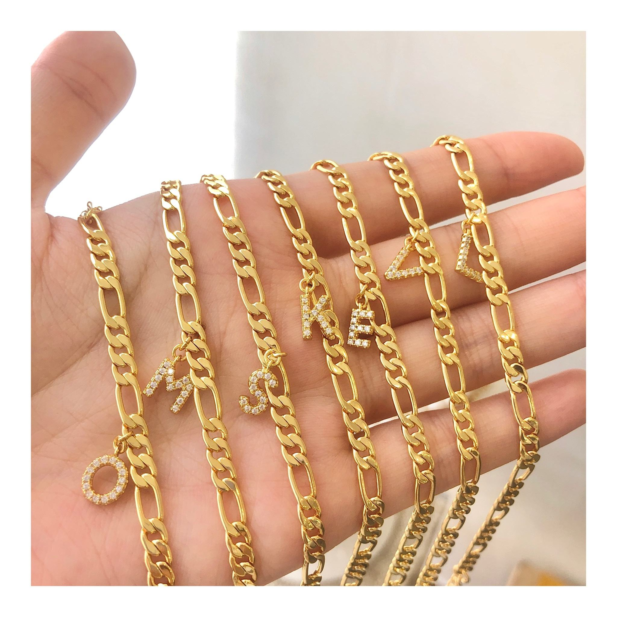 Eico Fashion Letter Gold Anklets Foot Jewelry Alphabet Zircon Bling Initial Anklet For Women