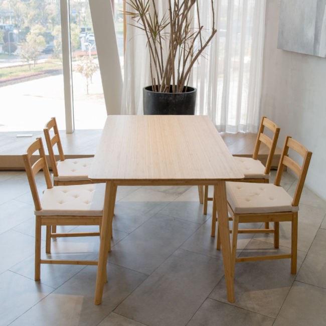 BAMBKIN wood modern hotel furniture table dining tables 1 piece customized bamboo dining table