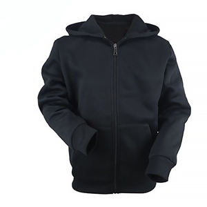 Warna Hitam Polos Zip Up Hoodie Custom Cotton Hoodie Pria Zip Sweatshirt