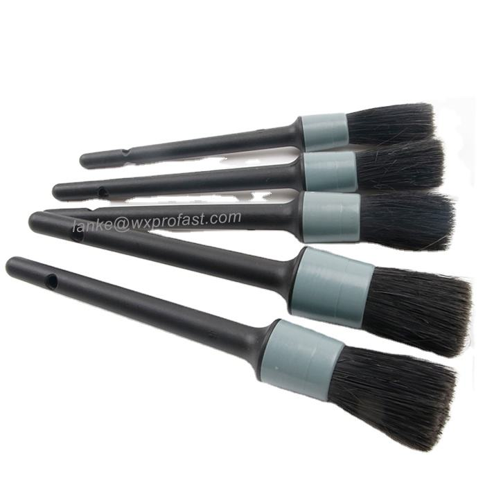 5-Set Car Wash Black Grey Boar Hair Synthetic Hair Auto Detailing Car Brush For Interior Leather Trim Wheels