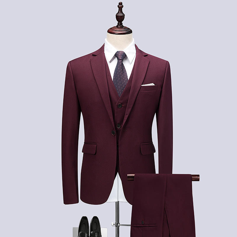 Wholesale high quality pant coat design men business suits 3 pieces men red suit