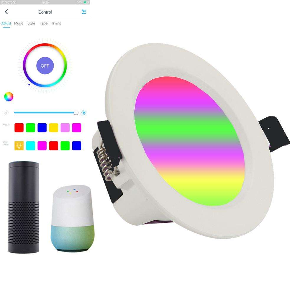 Smart Wifi Tuya 12W Rgb Dimbare Led Down Verlichting Compatibel Met Alexa Google Thuis Wifi Smart Led Downlighters