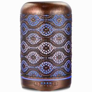 Ultrasonic Essential Oil Diffuser 250ml Metal Aromatherapy Diffusers for Essential Oils, 7 Colors Changing Light & Whisper-quiet