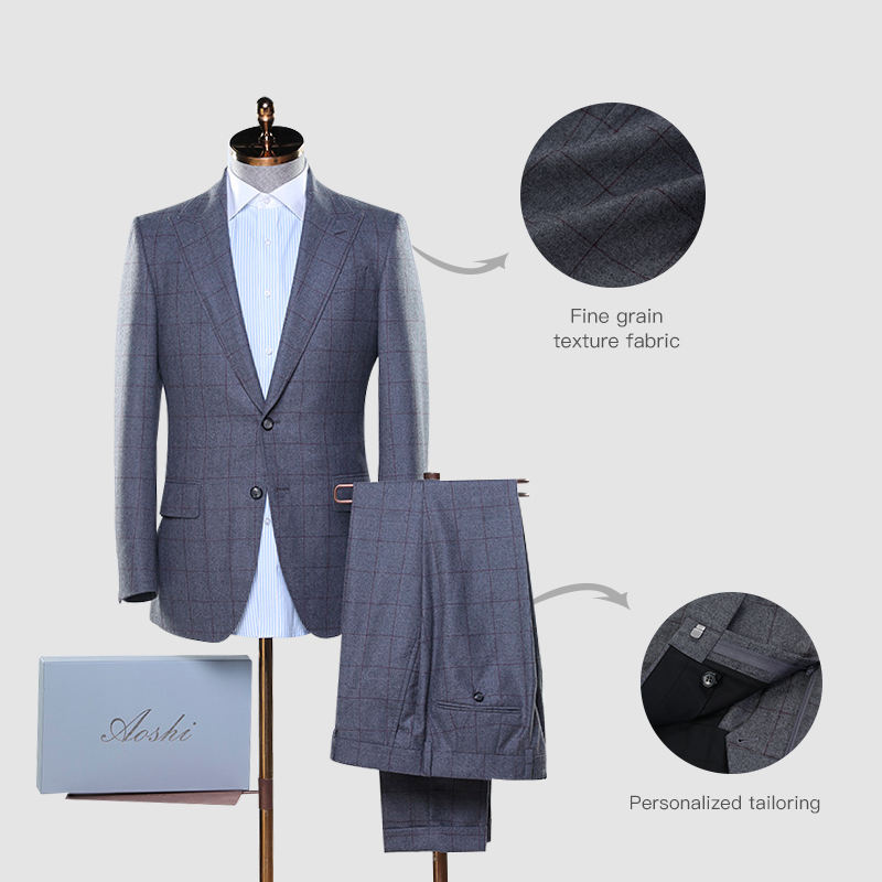 Bespoke Latest design plazzo suits fashion new style 100% wool fabrics suits for men suits 2 pieces