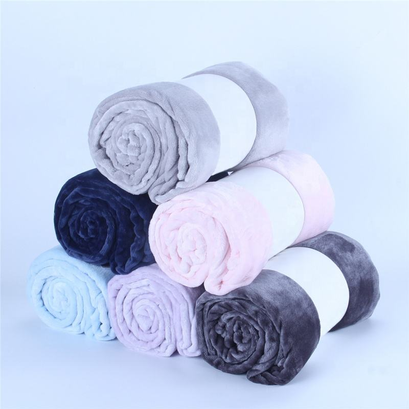 Blanket wholesale cheap price super soft microfiber cozy plain flannel fleece throw blankets 280gsm for winter fleece