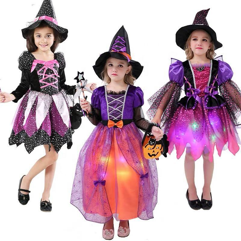Beautiful Fancy Led Light Up Children Kids Witches Dress Halloween Costume For Girls
