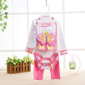 baby garments newborn winter cotton baby outfit romper set with bib