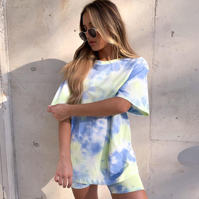 Hot Selling In USA Recyclable Fabric Women Tie Dye Two Piece Set Women Clothing