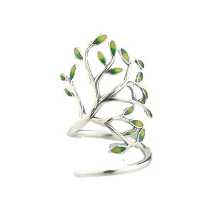 High Quality Fashion 925 Sterling Silver Drop Glaze Leaves Open Rings for Women