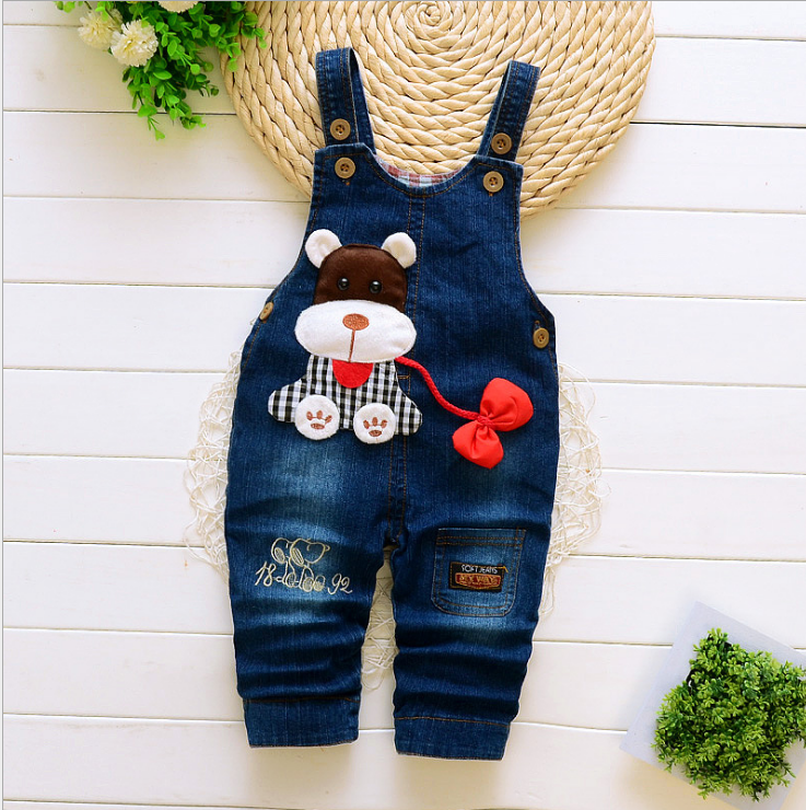 Cartoon Baby Boy Clothes Denim Pants Elastic Waist Casual Printed Toddler Pants Girls Trousers Children's Jeans