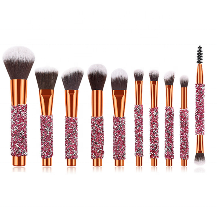 Bling Kustom Kuas Makeup Pegangan Kristal Berlian Makeup Brushes 10Pcs Glitter Make-Up Brush Set Cute Riasan <span class=keywords><strong>Sikat</strong></span> set