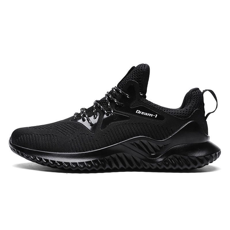 breathable insole wear-resisting and anti slip outsole mesh upper black men sport shoes running sneakers gym tainers