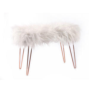 K B wholesale luxury designer Nordic white faux fur fluff 4 leg metal wire bar stool bench ottoman for living room