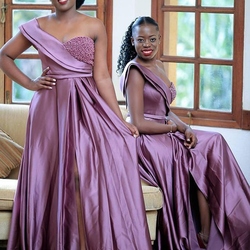 Plus Size A Line African Prom Dresses Long Wedding Guest Dre