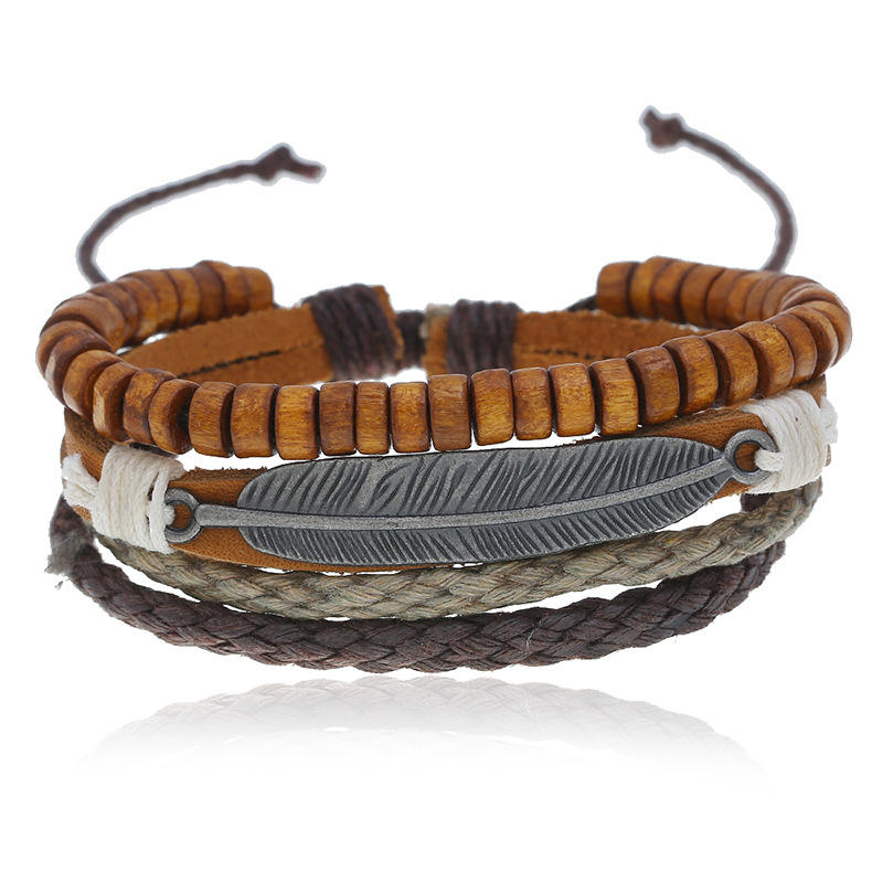 Fashion leaf charm bulk leather bracelet for men wholesale N95320