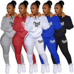 Two Piece Set Women Casual Sport Letter Printed Pocket Long