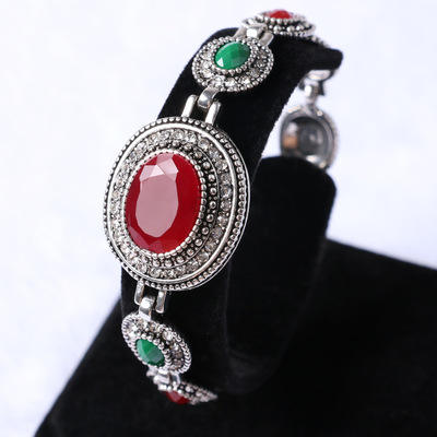 Vintage Oval Ruby Ladies Alloy Bracelet Color Resin Plated Rose Gold Jewellery