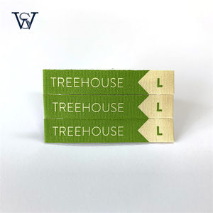 New Design Green Natural Cotton Printed Woven Label