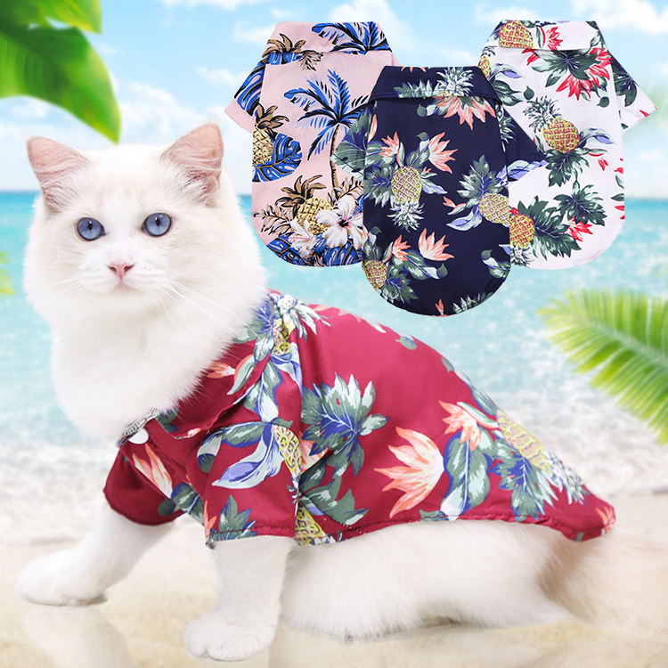 Clothes For Small Dogs Hawaiian Style Cotton Printed Pet T-Shirt Dog Clothes Summer For Small Medium Dogs Cats