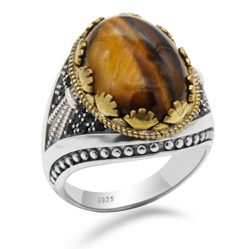 Turkish 925 Sterling Silver Tiger Eye Stone with Black CZ Stone Rings for Men Engagement Two Tone Jewelry