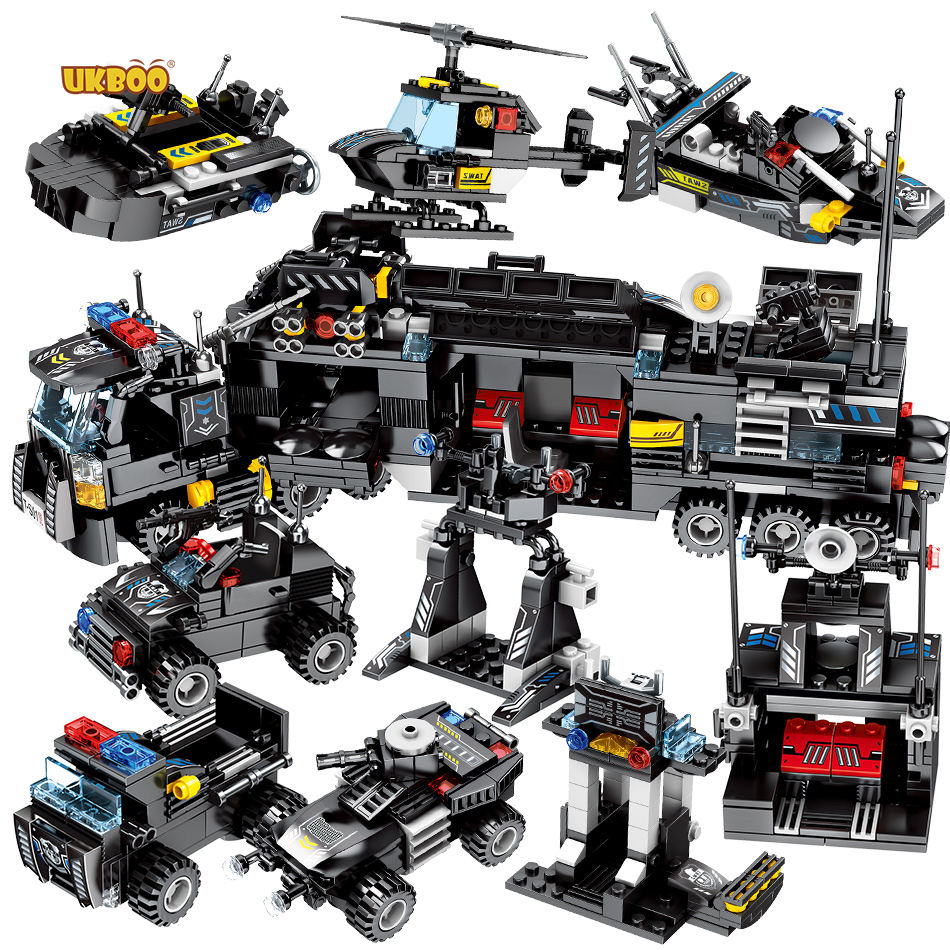 Special series 695 pcs 8 in 1 police team citys police swat sets with truck