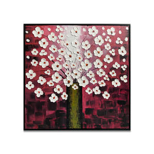 100% Handmade 3D Texture Flower Oil painting Red and White Canvas Wall Art Home Decoration